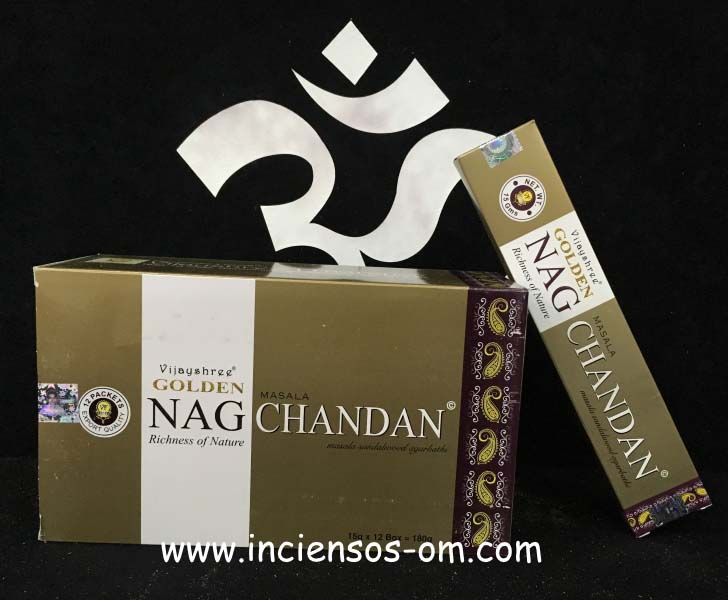 Incienso Golden Nag Chandan Dorado Sandalo Vijayshree