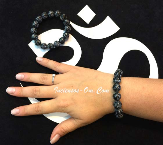 Pulsera Obsidiana Nevada bola  8 mm